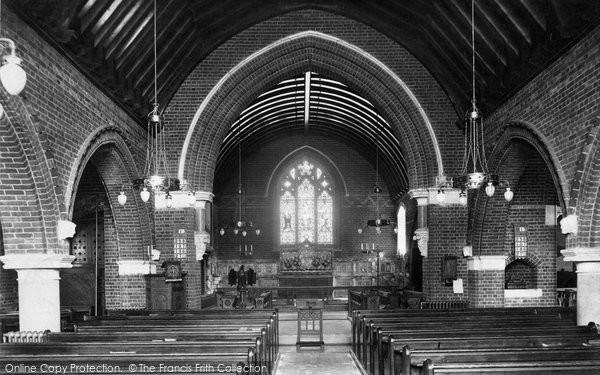 Windlesham, St John the Baptist Church interior 1909