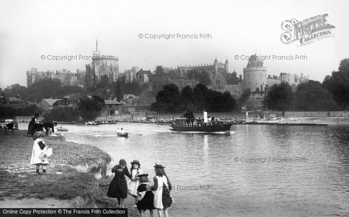 Windsor, Castle From The River Thames 1895