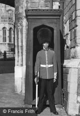 Windsor, Sentry at Henry VIII Gateway c1958
