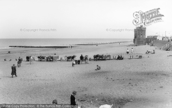 Photo of Withernsea, Donkeys On The Beach c.1965