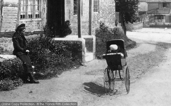 Photo of Witley, Girl And Pram 1906