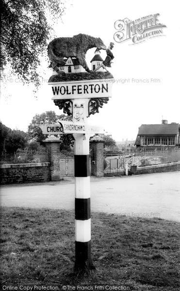 Photo of Wolferton, The Village Sign c.1955