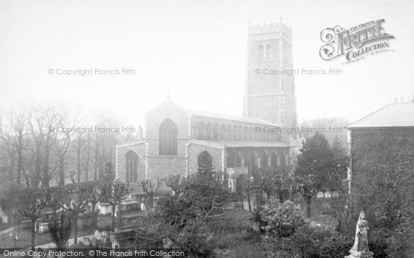 Photo of Woodbridge, St Mary's Church And Queen's Statue 1896