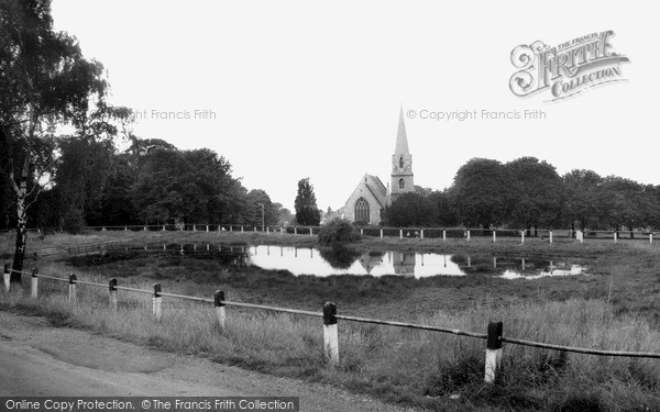 Photo of Woodford Bridge, the Pond and St Paul's Church c1965