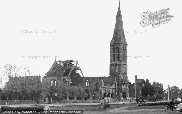 Photo of Woodford Green, the Bombed Church c1945