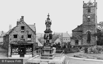 Wooler, the Cross, St Mary's Church and War Memorial c1955