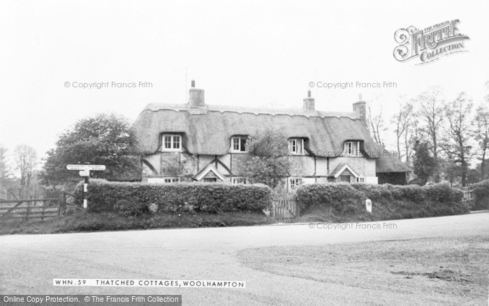 Photo of Woolhampton, Thatched Cottages c.1965