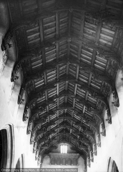 Photo of Woolpit, The Carved Roof Of St Mary's Church c.1955