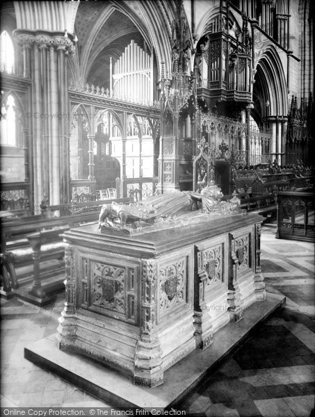 Photo of Worcester, Cathedral, King John's Tomb 1925