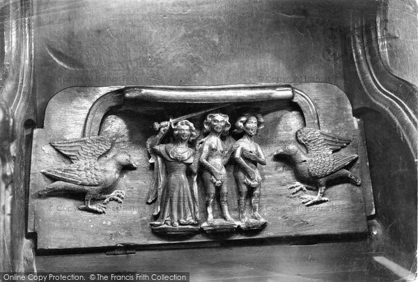 Photo of Worcester, Cathedral, Miserere Seat 'expulsion From Eden' 1907