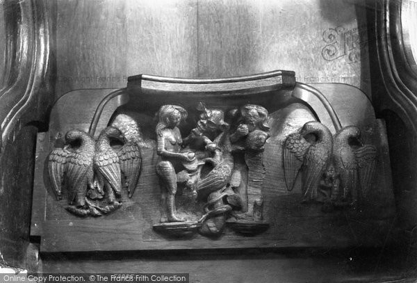 Photo of Worcester, Cathedral, Miserere Seat 'the Temptation' 1907