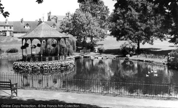 Photo of Worcester, Gheluvelt Park, The Pool And Bandstand c.1965