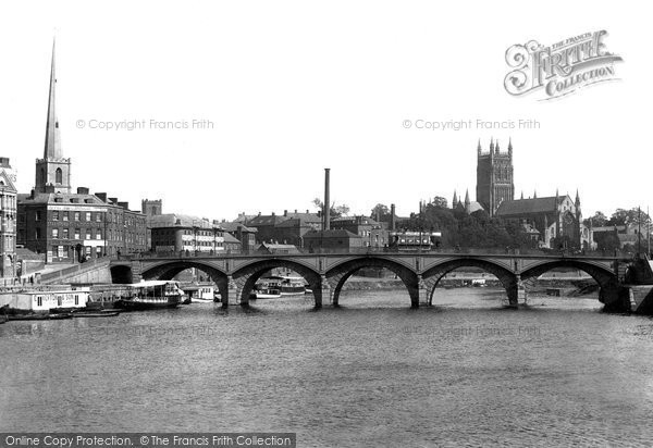 Photo of Worcester, River Severn, Cathedral And Bridge 1904