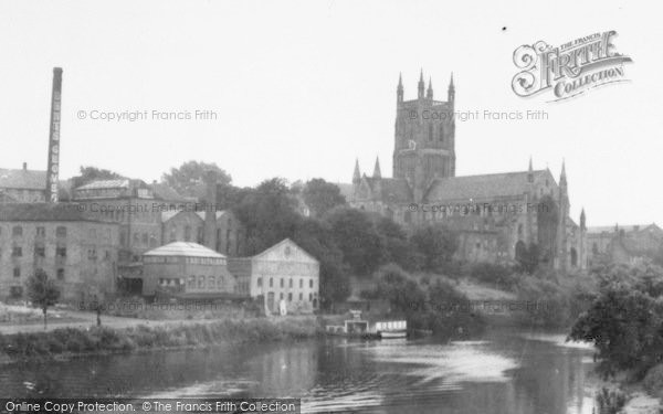 Photo of Worcester, The Cathedral And Dents Factory c.1950