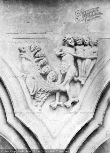 Photo of Worcester, The Cathedral, Carving 'the Jaws Of Hell' 1907