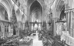 Worcester, The Cathedral Choir, Looking West c.1890