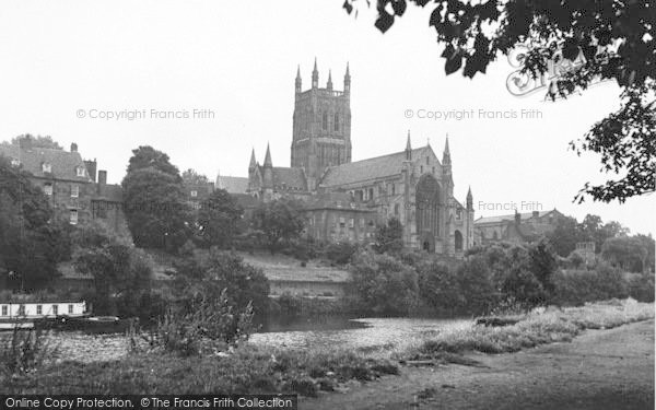 Photo of Worcester, The Cathedral From The River c.1950