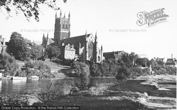 Photo of Worcester, The Cathedral From The River c.1955