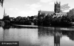 Worcester, The Cathedral From The River c.1960