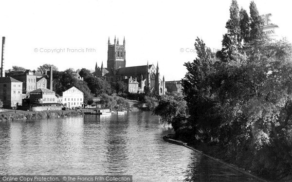 Photo of Worcester, The Cathedral From The River Severn c.1955