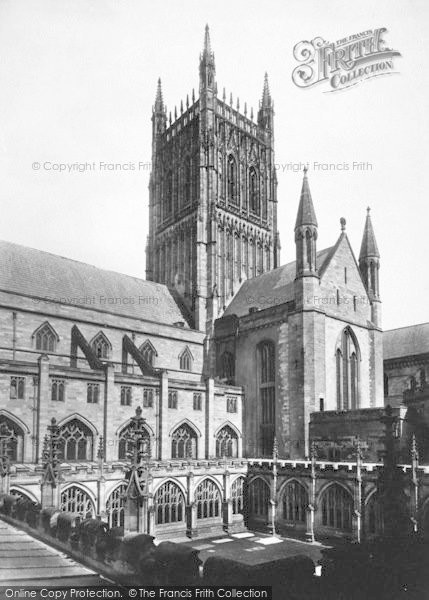 Photo of Worcester, The Cathedral Tower And Cloister Court 1891