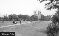 Worksop, Memorial Gardens And Priory Church c.1955