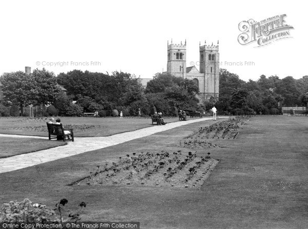 Photo of Worksop, Memorial Gardens And The Priory Church c.1955