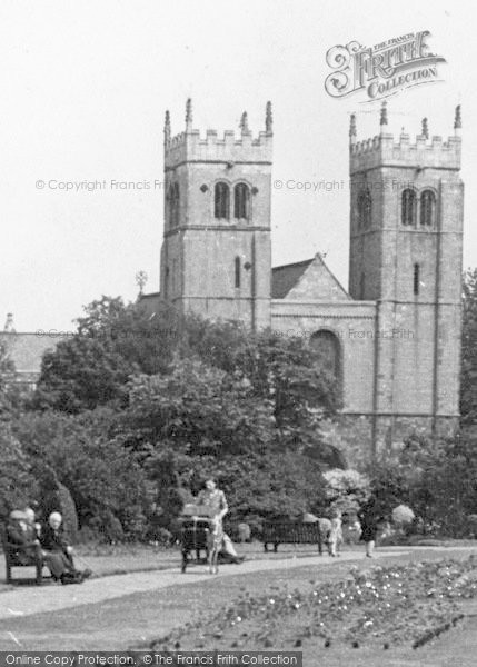 Photo of Worksop, Priory Church From The Memorial Gardens c.1955