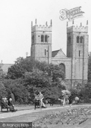 Worksop, Priory Church From The Memorial Gardens c.1955