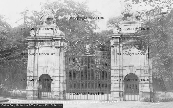 Photo of Worksop, Welbeck Abbey, Lion Entrance Gates c.1965