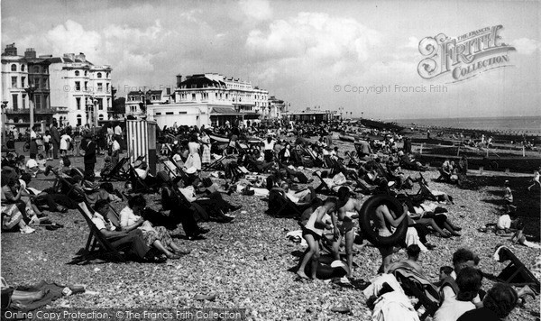 Photo of Worthing, The Beach c.1955
