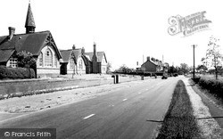 Wrenbury, The School And Nantwich Road c.1955