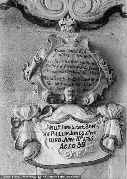 Photo of Wrexham, Church Of St Giles, Old Daniel Jones Memorial 1895