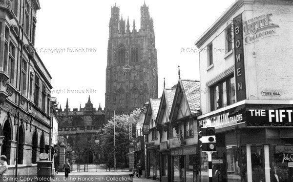 Photo of Wrexham, Church Street And Church Of St Giles c.1955