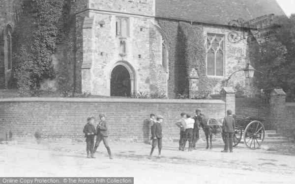 Photo of Wrotham, Boys By The Church 1901