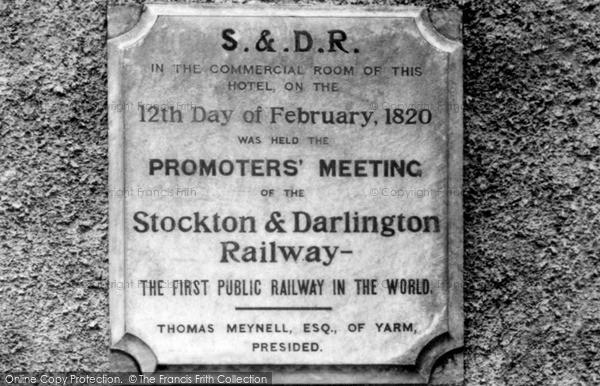 Photo of Yarm, Stockton And Darlington Railway Plaque c.1965
