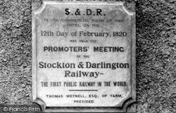 Yarm, Stockton And Darlington Railway Plaque c.1965
