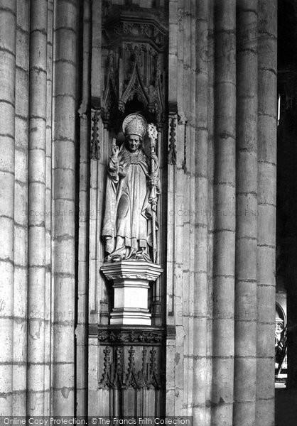 Photo of York, Minster, St Cuthbert's Statue 1911