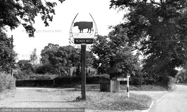 Photo of Yoxford, The Village Sign c.1955