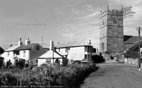 Photo of Zennor, St Senara's Church And Tinners Arms c.1955
