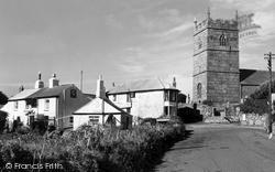 St Senara's Church And Tinners Arms c.1955, Zennor