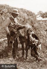 Lealholm, Man, Boy and Donkey c1880