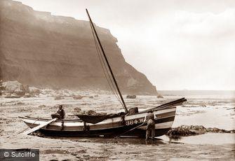 Robin Hood's Bay, Coble on Beach c1880