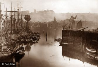 Whitby, Boats in Upper Harbour c1880