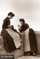 Whitby, Girls Knitting c1880