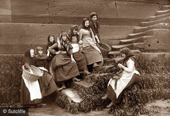 Whitby, Girls on Steps c1880