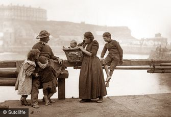 Whitby, Harbourside Family c1880